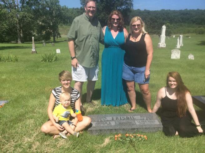 My grandfather's parents' graves.  My Uncle Art, Cousins Emily and Meghan, Mother, Debbie, and me and Jack