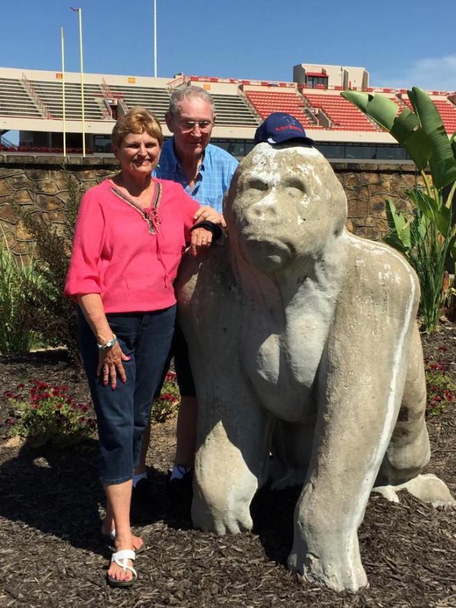 Grandmom and Grandpa with the Pittsburg Gorilla.