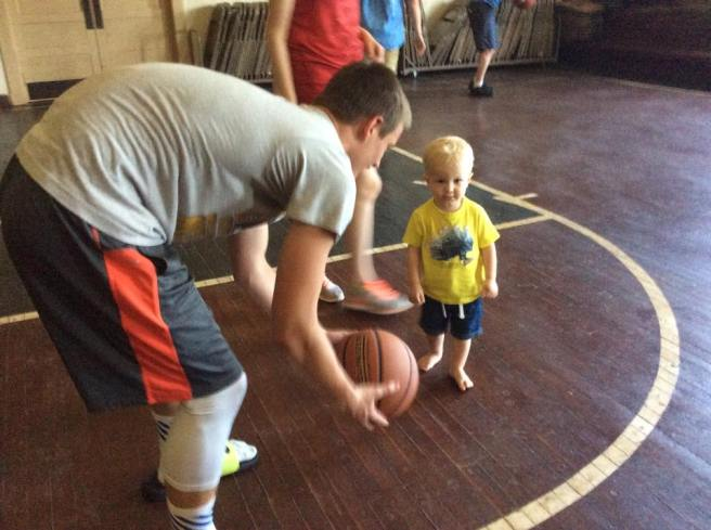 Jack and Sam play basketball in Fulton, KS