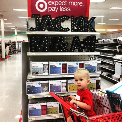 Target felt bad about the rain, so she left Jack this cute sign.